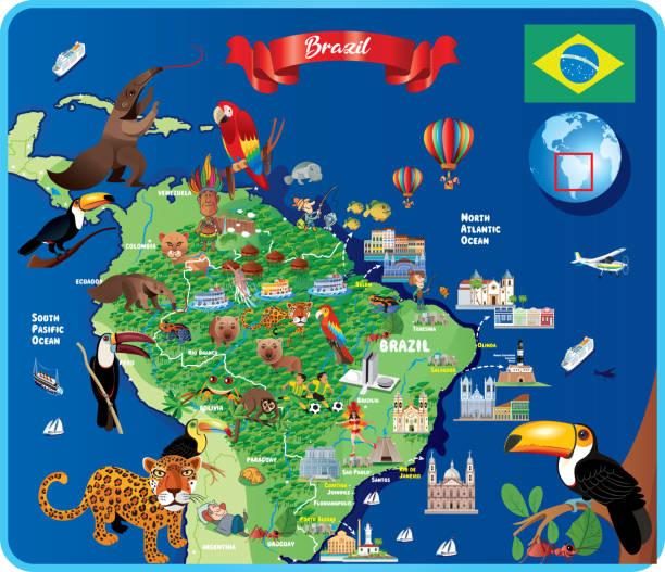 ilustrações, clipart, desenhos animados e ícones de brazil travel mapa - manaus