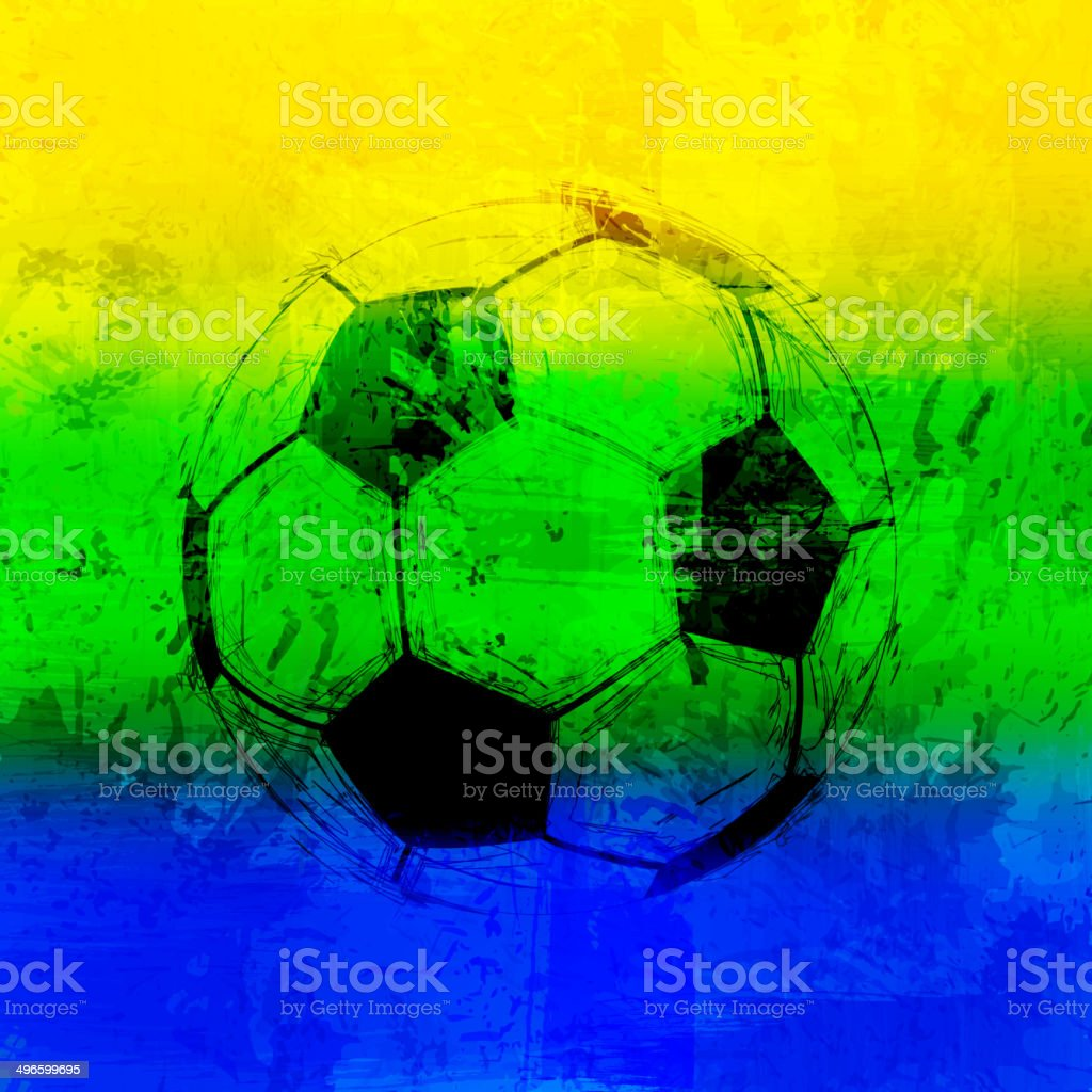 Brazil Vector Color Background With Ball vector art illustration