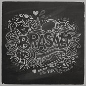 Brazil Summer 2014 Vector footbal hand lettering and doodles elements background