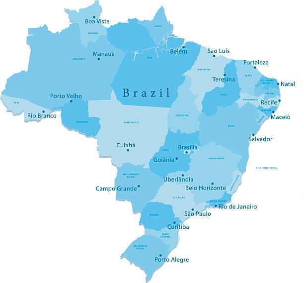 ilustrações, clipart, desenhos animados e ícones de brasil vetor mapa regiões isoladas - manaus