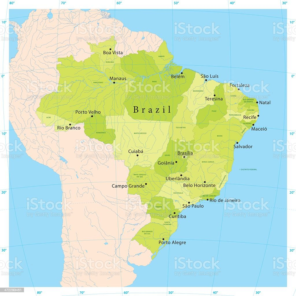 Brazil Vector Map vector art illustration