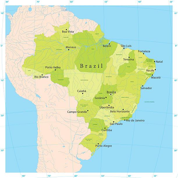 ilustrações, clipart, desenhos animados e ícones de brasil vetor mapa - manaus