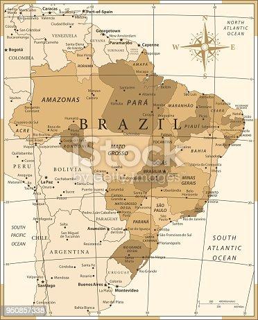 Map of Brazil - Vintage Vector illustration