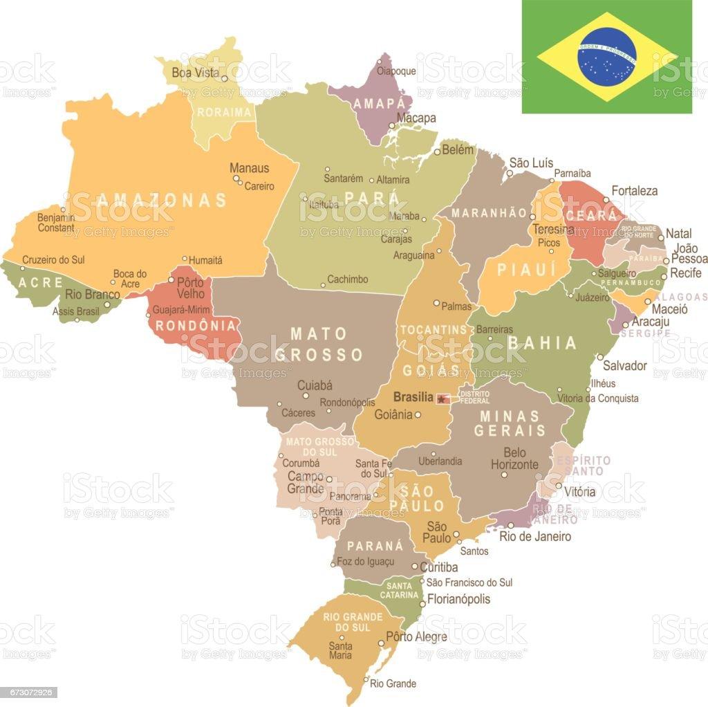 Brazil Vintage Map And Flag Illustration Stock Vector Art More