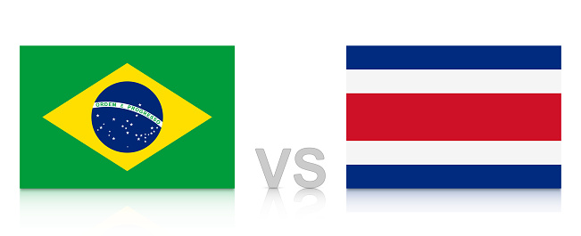 Brazil vs. Costa Rica. Russia 2018. National flags with reflection isolated on white background.