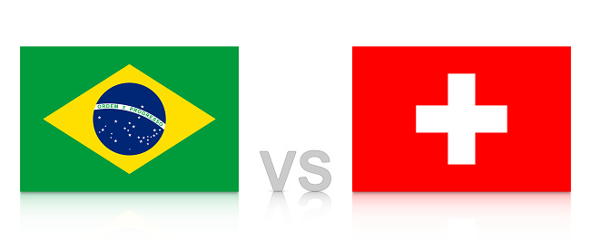 Brazil vs. Switzerland. Russia 2018. National flags with reflection isolated on white background.