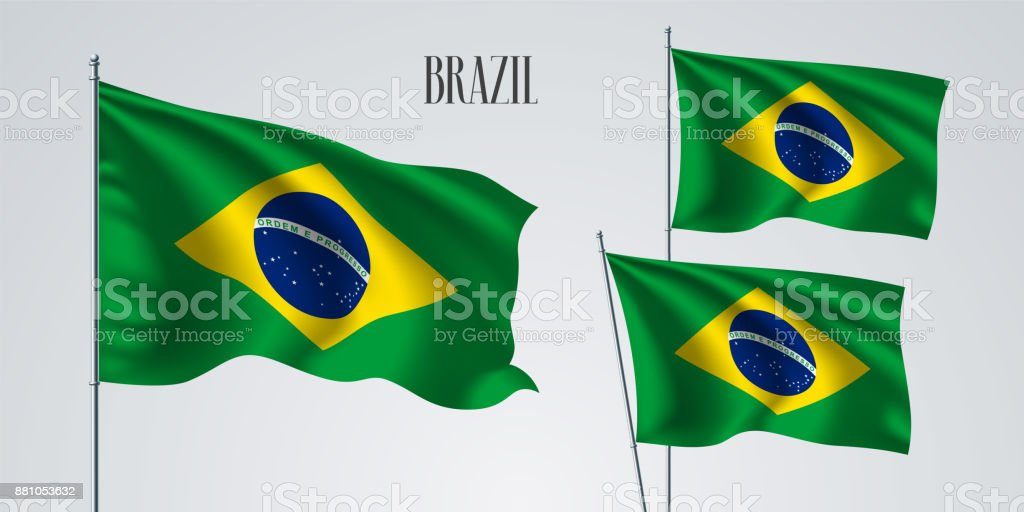 Brazil waving flag set of vector illustration vector art illustration