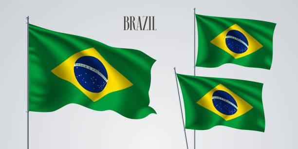Brazil waving flag set of vector illustration vector art illustration