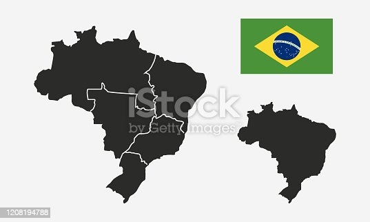 istock Brazil with regions map and Brazil flag isolated on white background. Blank map of Brazil. Brazil background. Vector illustration 1208194788