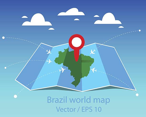 Brazil world map vector art illustration
