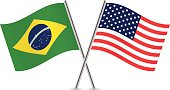 Brazilian and American flags. Vector.
