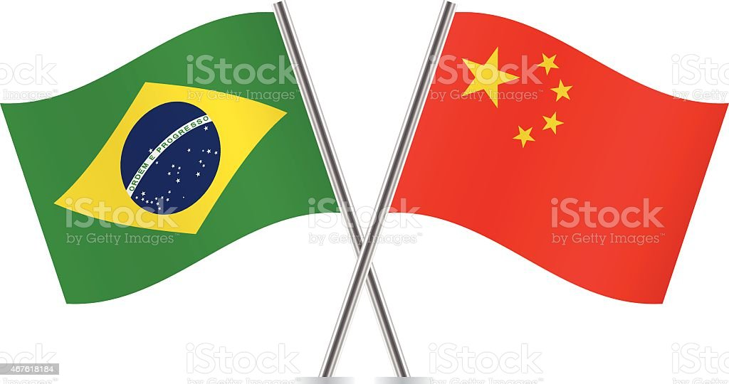 Brazilian and Chinese flags. Vector. vector art illustration