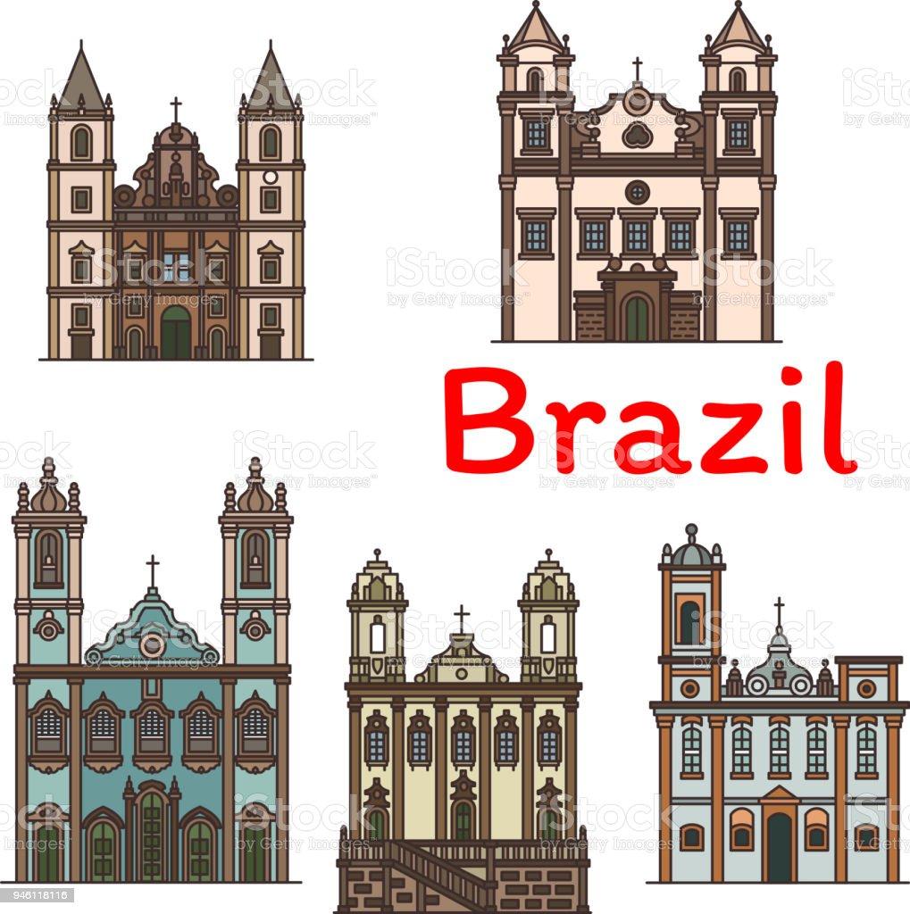 Arquitetura brasileira viajar ícone linear de Marco - ilustração de arte em vetor