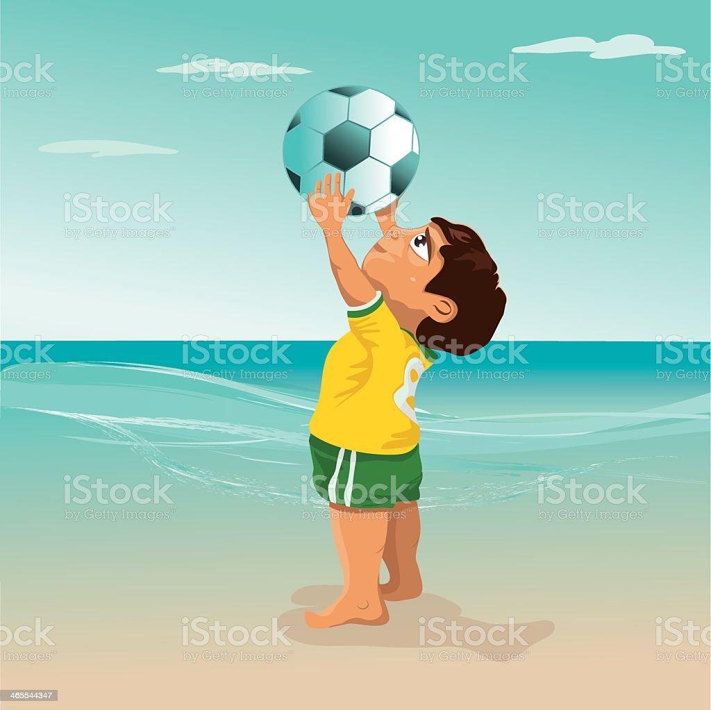 brazilian boy is catching the football vector art illustration