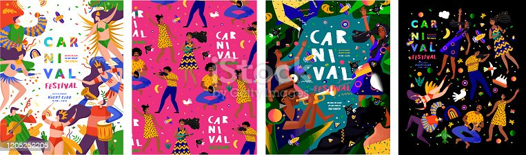 Brazilian carnival and festival! Vector abstract holiday illustration with people, dancers and musicians. Party drawing for poster, banner or background. Brazilian dance, music and rhythm