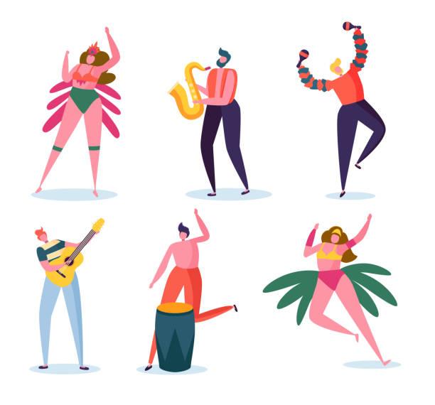 bildbanksillustrationer, clip art samt tecknat material och ikoner med brasiliansk karneval band teckenuppsättning. mode kvinna i fjäder bikini klä dans på brasilien music festival. man spela gitarr och saxofon för sommarsemester isolerad platta tecknade vektorillustration - latino music