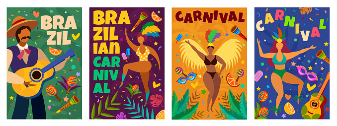 Brazilian carnival. Banner with masquerade latino elements dance parade, dancers and musicians, confetti, masks and feathers vector posters
