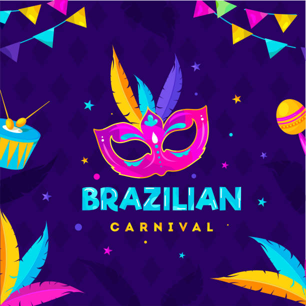 Brazilian Carnival Celebration Concept with Party Mask, Drum, Maracas and Colorful Feather Decorated on Purple Rhombus Pattern Background. vector art illustration