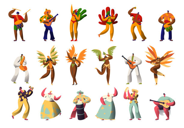 brazilian carnival character costume set. latino woman in feather bikini dress dance at rio de janeiro festival. man play maraca and guitar for brazil national holiday flat cartoon vector illustration - instrument perkusyjny stock illustrations