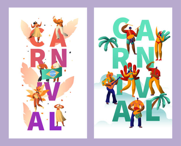 bildbanksillustrationer, clip art samt tecknat material och ikoner med brasiliansk karneval teckenuppsättning typografi affisch. fjäder bikini kvinna dans tropiska sommaren rumba. man spela gitarr för happy cabaret festival vertikal banner design platt tecknade vektorillustration - parad