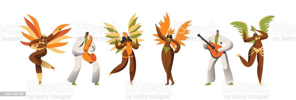 77641218b33f Ilustración de Conjunto De Caracteres De La Bailarina De Carnaval ...