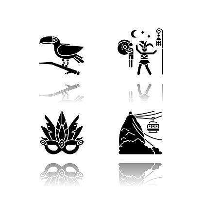 Brazilian carnival drop shadow black glyph icons set. Traditional masquerade. Street party. Masquerade mask. Pão de Açúcar. Ropeway. National festival. Isolated vector illustrations on white space