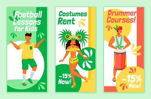 Brazilian carnival flyers flat vector templates set. Football lessons for kids printable leaflet design layout. Costumes rent. Drummer courses advertising web vertical banner, social media stories