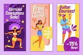 Brazilian carnival flyers flat vector templates set. Free samba lesson printable leaflet design layout. Festive costumes sale. Gitar courses advertising web vertical banner, social media stories