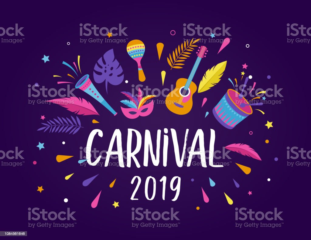 Brazilian Carnival, music festival, masquerade flyer template vector art illustration