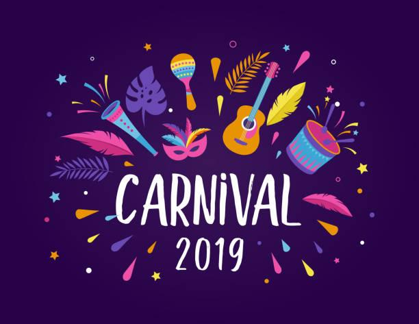 ilustrações, clipart, desenhos animados e ícones de carnaval brasileiro, festival de música, modelo de panfleto de baile de máscaras - carnaval