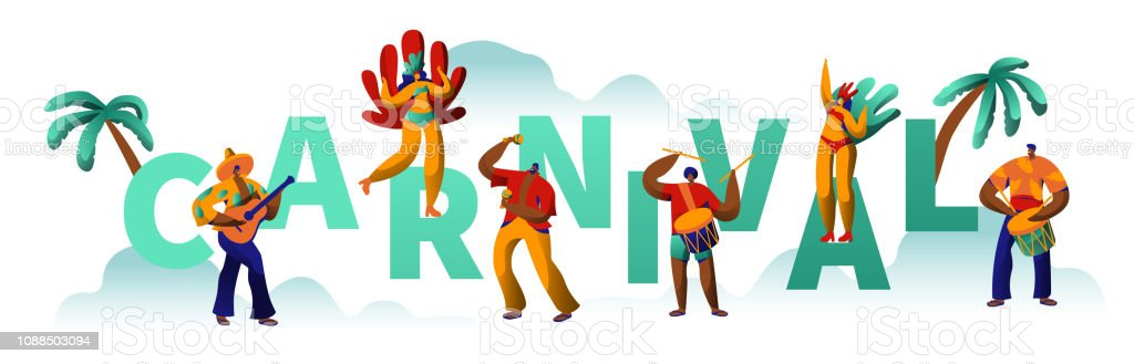 a898e170ffc8 Ilustración de Carnaval Brasileño Partido Carácter Tipografía Cartel ...