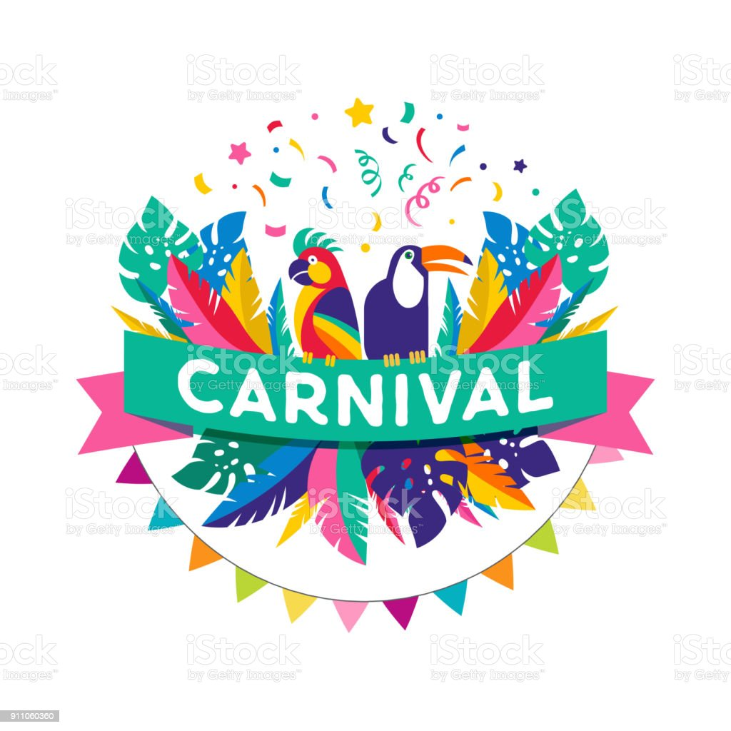 Brazilian Carnival poster, banner with colorful party elements - masks, confetti, toucan, parrot and splashes. vector art illustration