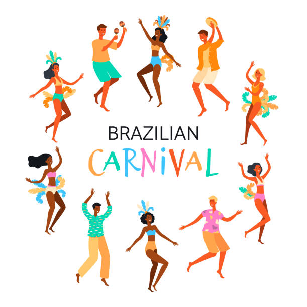Brazilian Carnival poster with dancing people flat vector illustration isolated. Brazilian Carnival poster with dancing people characters flat cartoon vector illustration isolated on white background. Festival or holiday, celebration event banner. carnival stock illustrations