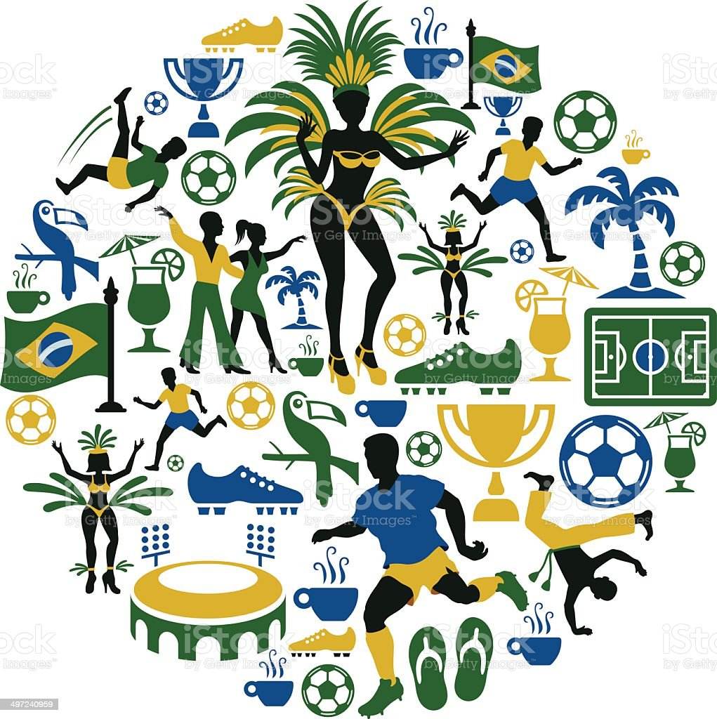 Brazilian Collage vector art illustration