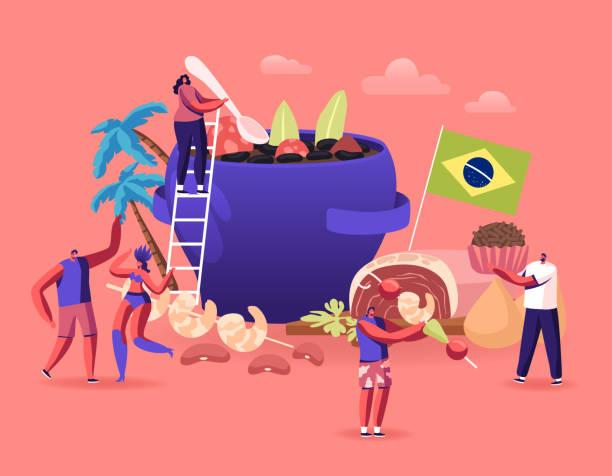 ilustrações, clipart, desenhos animados e ícones de conceito de culinária brasileira. personagens masculinos e femininos minúsculos e pratos típicos brasileiros feijoada ensopado de feijão com carne bovina e suína, trufa doce brigadeiro, camarões fritos cartoon flat vector ilustração - brigadeiro