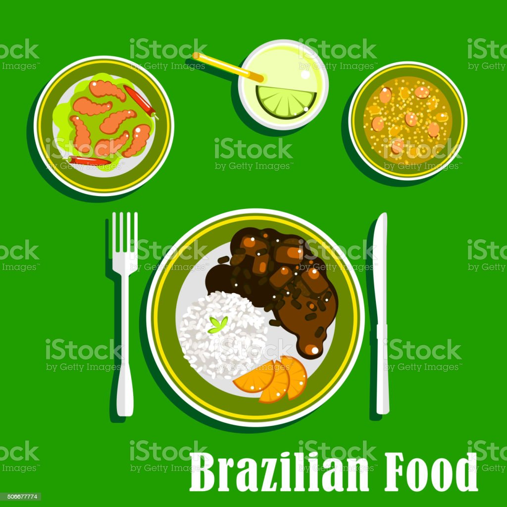 Brazilian cuisine icons with national dishes向量藝術插圖
