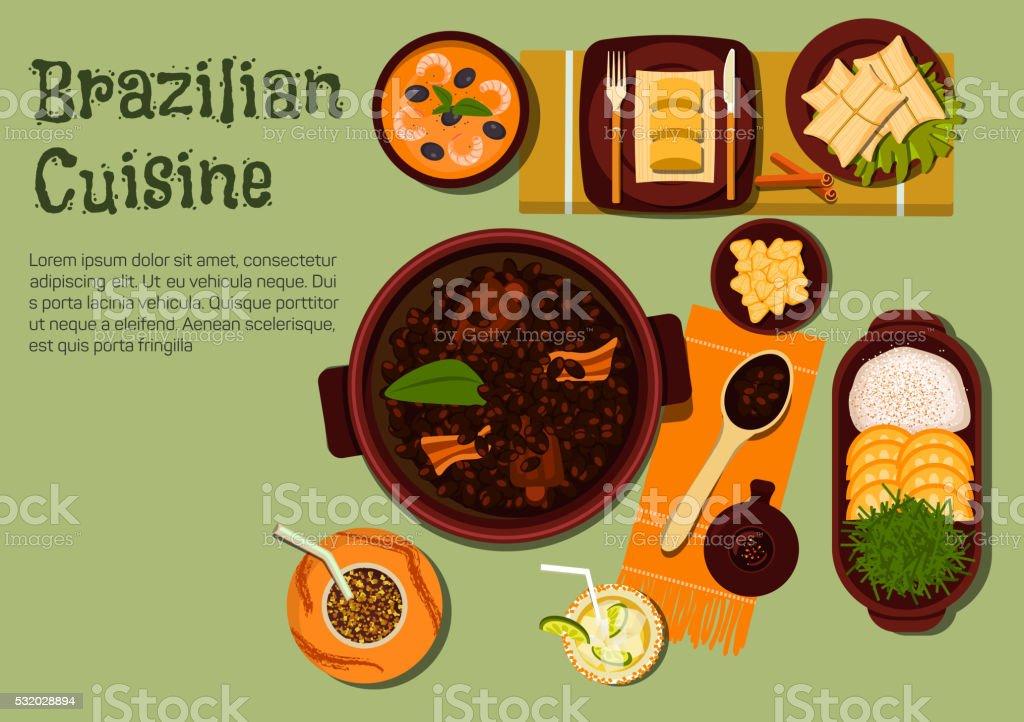 Brazilian dinner with feijoada stew flat icon vector art illustration