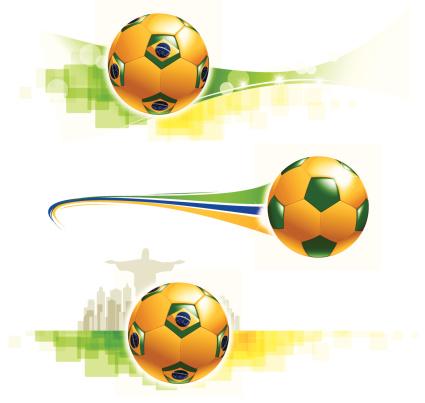 Brazilian flag football graphics with Rio de Janeiro background