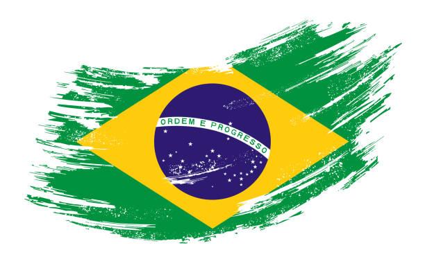 ilustraciones, imágenes clip art, dibujos animados e iconos de stock de bandera brasileña grunge cepillo de fondo. ilustración vectorial. - bandera brasileña