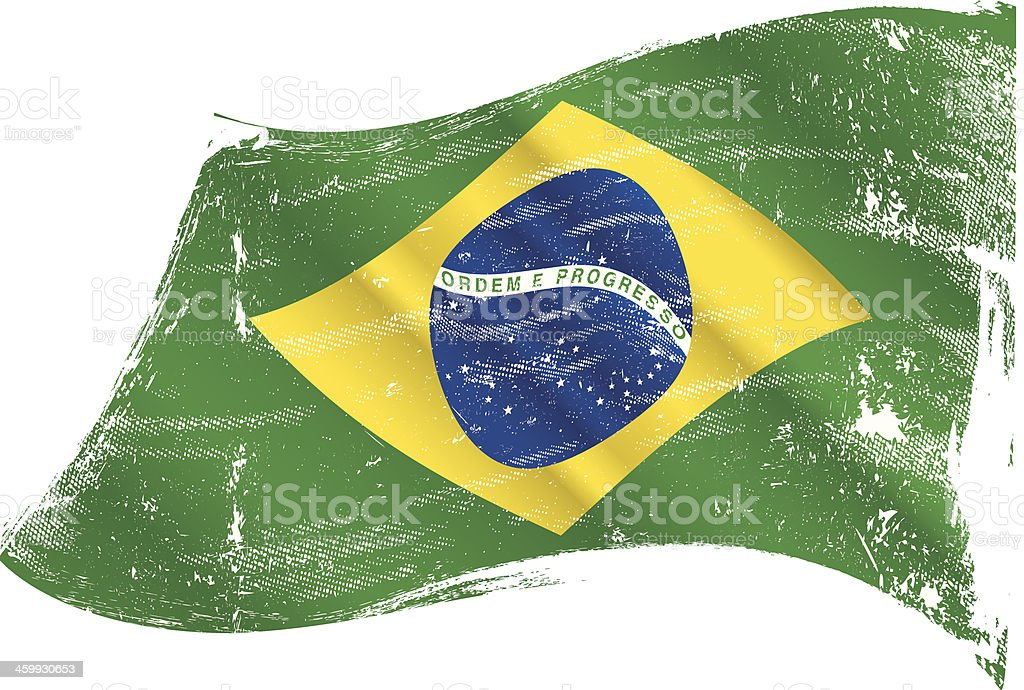 brazilian flag grunge vector art illustration
