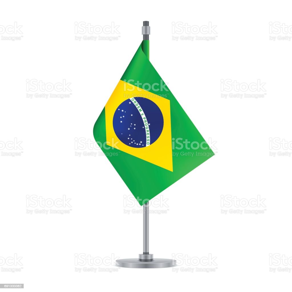 Brazilian flag hanging on the metallic pole, vector illustration vector art illustration