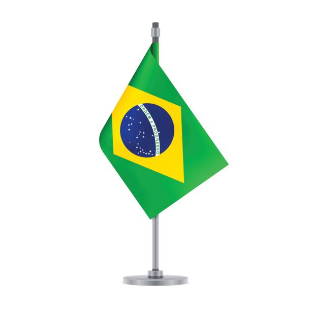 Brazilian flag hanging on the metallic pole, vector illustration vector art illustration