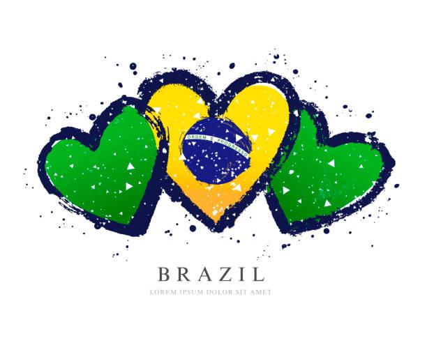 Brasilianische Flagge in Form von drei Herzen. Vektorabbildung – Vektorgrafik