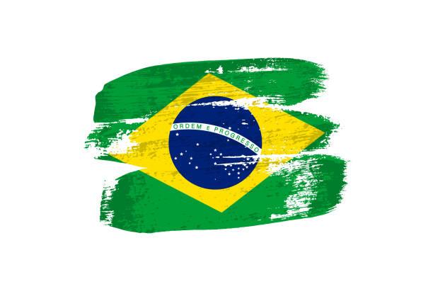 ilustrações, clipart, desenhos animados e ícones de bandeira do brasil pintada com pinceladas. vector bandeira grunge do brasil isolado no fundo branco. - brazil