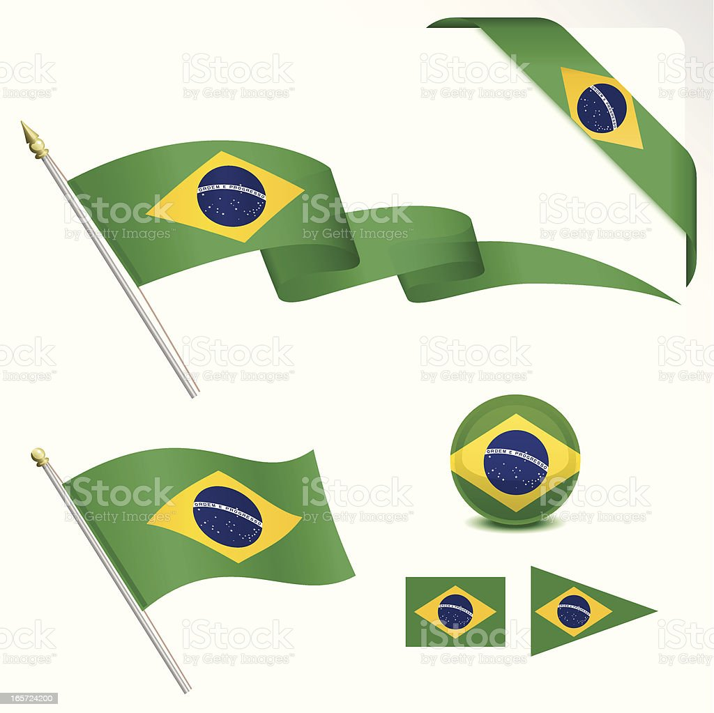 Brazilian Flag Set vector art illustration