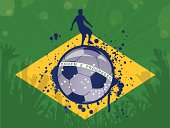 EPS10 - Brazilian flag with soccer theme. This illustration contains transparent and blending mode objects. All design elements are layered and grouped.