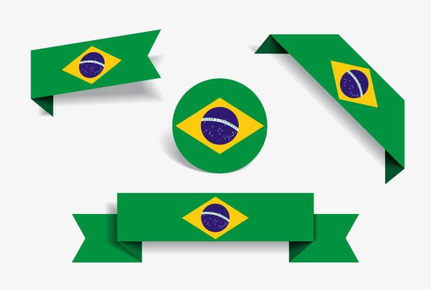 ilustraciones, imágenes clip art, dibujos animados e iconos de stock de etiquetas y pegatinas de la bandera brasileña. ilustración de vector. - bandera brasileña