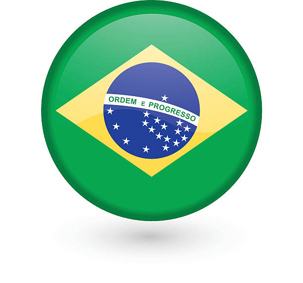 Brazilian flag vector button vector art illustration