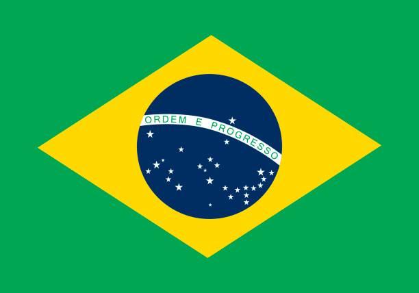 Brazilian Flag (Official Colors) vector art illustration