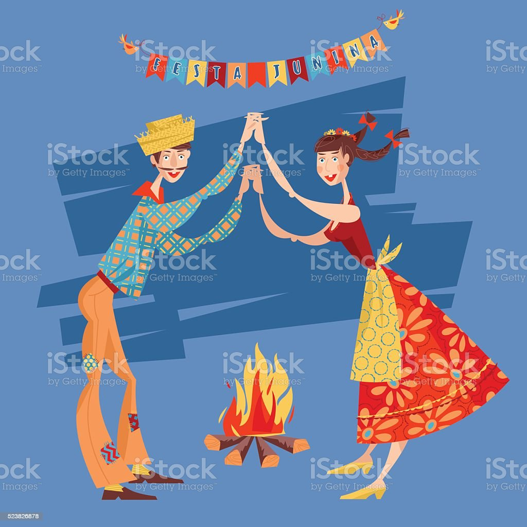 Brazilian holiday Festa Junina. Couple dancing traditional dance Quadrilha. vector art illustration